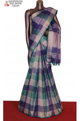 Party Wear Checks Special Pure Linen Saree