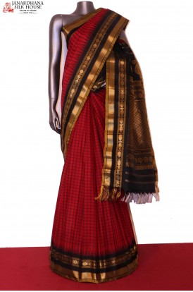 Traditional & Contrast Handloom Pure Gadwal Silk Cotton