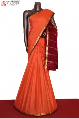 Mango & Contrast Traditional Pure Mysore Crepe Silk Saree