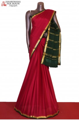 AG203921-Mango & Contrast Traditional Pure Mysore Crepe Silk Saree