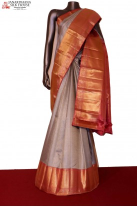 AG203975-Designer Gold Silver  Wedding Handloom Kanjeevaram Silk Saree