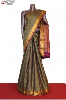 Checks & Butta Traditional Kanjeevaram Silk Saree