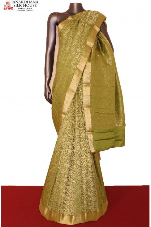 Designer Green Pure Crepe Silk..