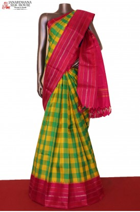Checks & Temple Handloom Kanjeevaram Silk Saree