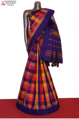 AG204990-Checks & Contrast Thread Weave Kanjeevaram Silk Saree