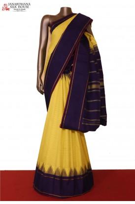 Veldhari Line & Temple Thread Weave Contrast Kanjeevaram Silk Saree