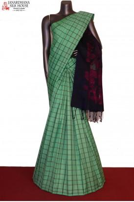 AG205684-Checks & Designer Peacock Pallu Handloom Pure Soft Silk Saree