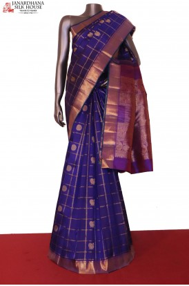 AG205700-Grand & Traditional Zari Checks Peacock Chakram Kanjeevaram Silk Saree