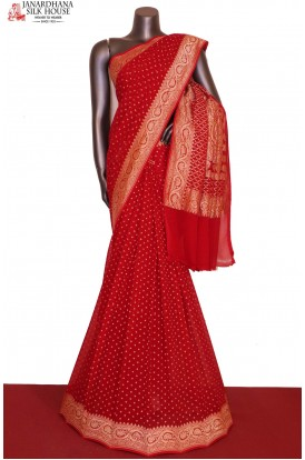 AG205746-Designer & Exclusive Silver Banarasi Georgette Silk Saree