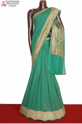 Designer & Exclusive Silver Banarasi Georgette Silk Saree