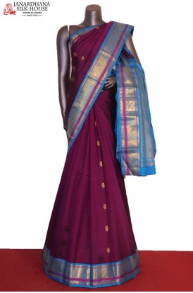 Traditional & Exclusive Contrast Peacock Chakram Kanjeevaram Silk Saree