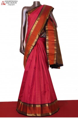 Exclusive Contrast & Zari Checks Traditional Kanjeevaram Silk Saree