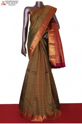 Grand Zari Checks Zari Butta Wedding Kanjeevaram Silk Saree