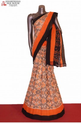 Exclusive Handloom Ikat Patola Cotton Saree-Without Blouse