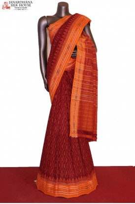 AG206228-Exclusive Handloom Ikat Patola Cotton Saree-Without Blouse