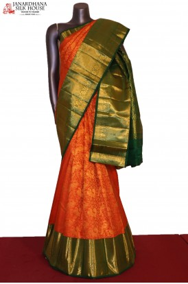 Grand Peacock & Floral Zari Wedding Handloom Kanjeevaram Silk Saree