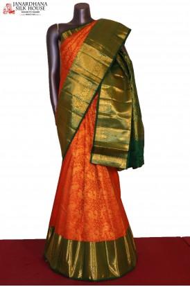 Grand Peacock & Floral Zari Wedding Handloom Kanjeevaram Silk Saree
