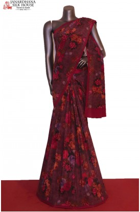 AG206251-Floral Exclusive Finest Quality Pure Crepe Silk Saree