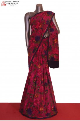 Floral Exclusive Finest Quality Pure Crepe Silk Saree
