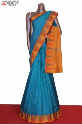 Blue Temple South Silk Saree
