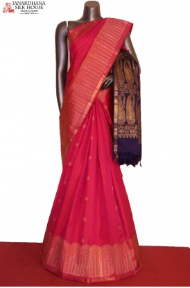 AG206314-Exclusive Gold & Silver Grand Wedding Kanjeevaram Silk Saree