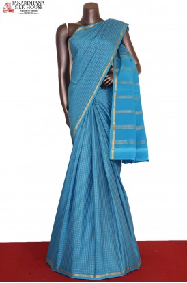Zari Checks & Traditional Pure Mysore Crepe Silk Saree