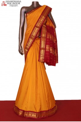 AG206337-Traditional & Peacock Contrast Classic Wedding Pure South Silk Saree