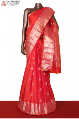 Traditional & Exclusive Silver Handloom Kanjeevaram Silk Saree
