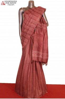 AG206525-Handloom Exclusive Pure Tussar Silk Saree