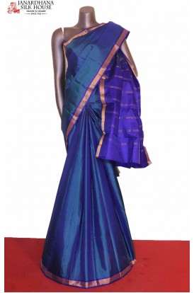 Blue Wedding South Silk Saree
