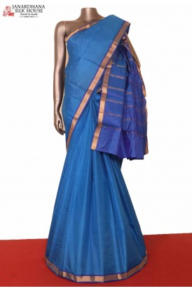Blue Traditional South Indian Silk Saree