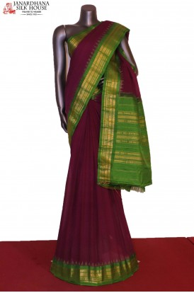 Traditional & Contrast Handloom Pure Gadwal Cotton Saree- Without Blouse