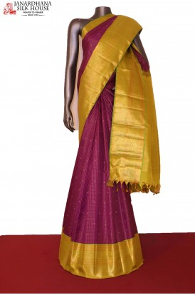 Grand & Exclusive Contrast Zari Checks Zari Butta Kanjeevaram Silk Saree