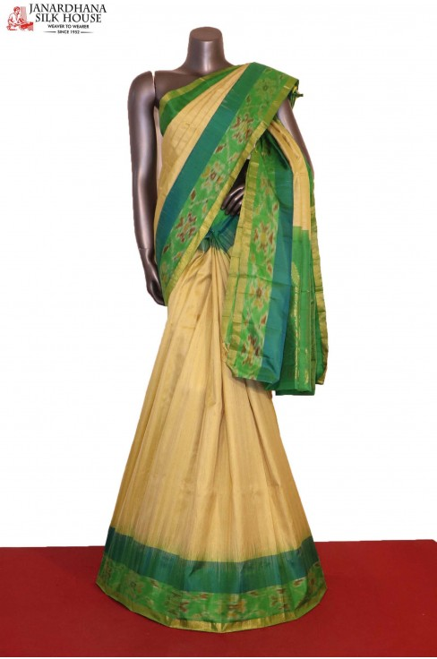 Beautiful Cream Designer & Exclusive Handloom Pure Soft Silk Saree