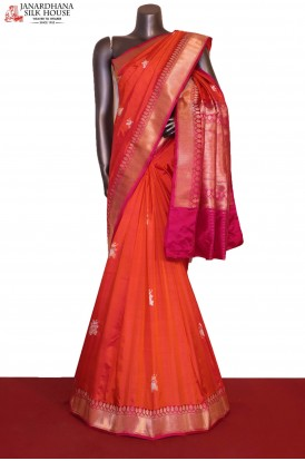 Designer & Exclusive Gold Silver Handloom Banarasi Silk Saree