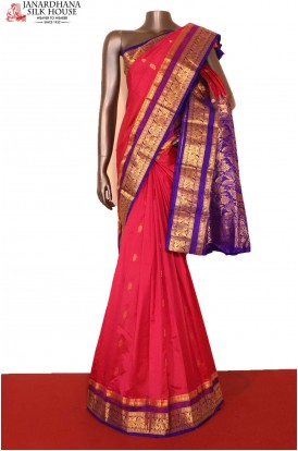 AG206898-Grand & Contrast Classic Wedding Pure South Silk Saree