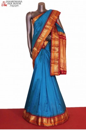 AG206923-Traditional & Peacock Contrast Classic Wedding Pure South Silk Saree