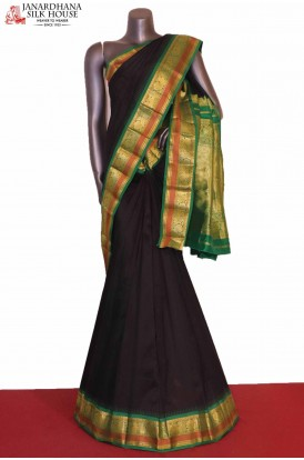 AG206924-Traditional & Peacock Contrast Classic Wedding Pure South Silk Saree