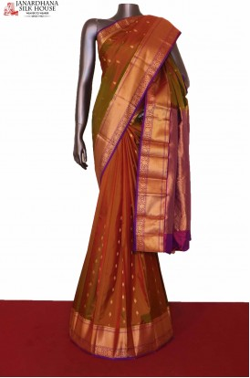 Two Tone Wedding South Silk Saree