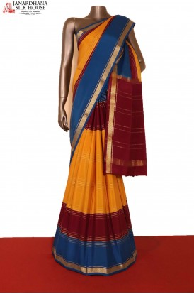 Exclusive & Colorful Veldhari Zari Lines Pure Mysore Crepe Silk Saree