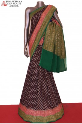 Exclusive Double Contrast Banarasi Georgette Silk Saree
