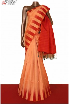Thread Weave & Contrast Handloom Pure Soft Silk Saree-Slubs Weave
