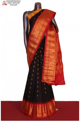 AG207203-Grand & Ganga Jamuna Handloom Pure Gadwal Silk Saree