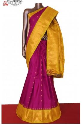 Grand & Traditional Zari Butta Handloom Pure Gadwal Silk Saree