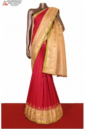 Traditional & Temple Contrast Classic Handloom Pure Gadwal Silk Saree