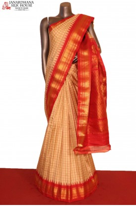 AG207253-Grand & Traditional Checks Butta Handloom Pure Gadwal Silk Saree