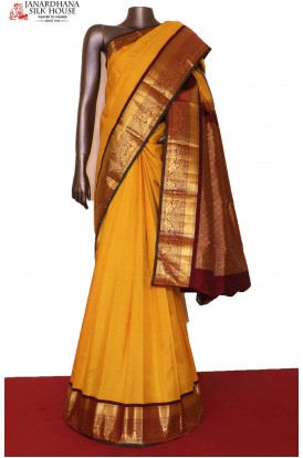 Yellow & Turning Zari Wedding Contrast Kanjeevaram Silk Saree