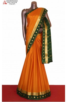 Traditional & Contrast Pure Mysore Crepe Silk Saree