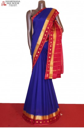 Blue Exclusive Pure Mysore Crepe Silk Saree