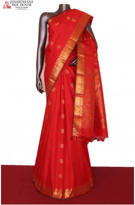 Bridal Red Mayil Chakram Kanjivaram Silk Saree
